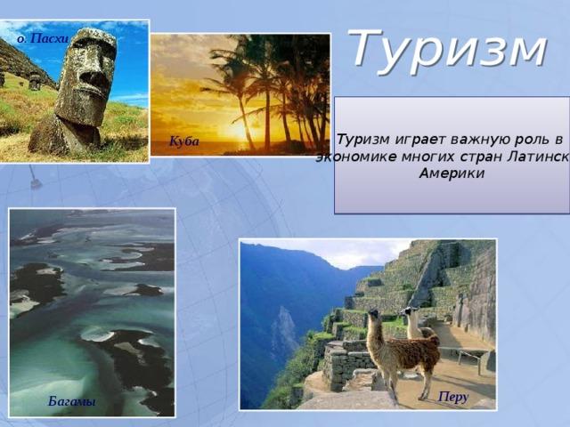 о. Пасхи Туризм играет важную роль в экономике многих стран Латинской Америки Куба Перу Багамы 5