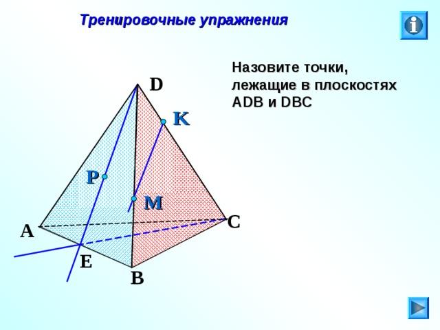 Тренировочные упражнения Назовите точки, лежащие в плоскостях А DB и DBC D K P M C Л.С. Атанасян. Геометрия 10-11. № 8. A E B 26