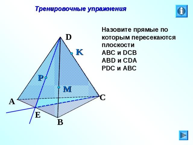 Тренировочные упражнения Назовите прямые по которым пересекаются плоскости АВС и DCB ABD и CDA PDC и ABC D K P M C Л.С. Атанасян. Геометрия 10-11. № 8. A E B 27