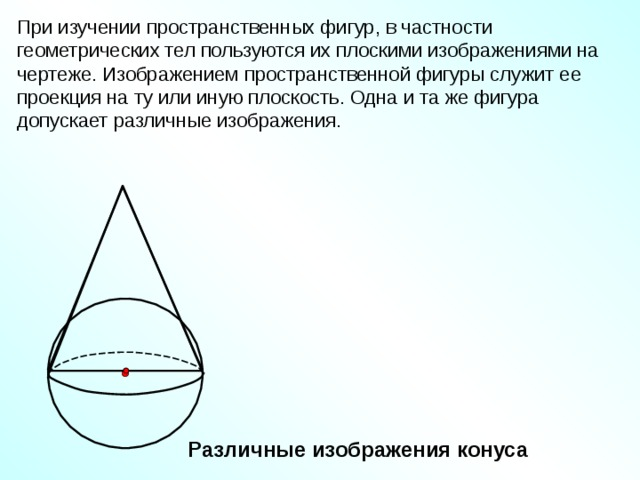 При изучении пространственных фигур, в частности геометрических тел пользуются их плоскими изображениями на чертеже. Изображением пространственной фигуры служит ее проекция на ту или иную плоскость. Одна и та же фигура допускает различные изображения. Различные изображения конуса