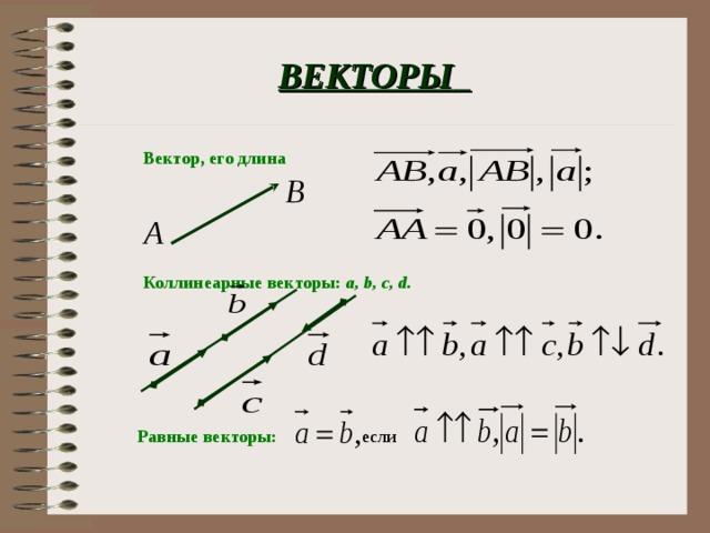 ВЕКТОРЫ  Вектор, его длина Коллинеарные векторы :  а, b, c, d. если Равные векторы :