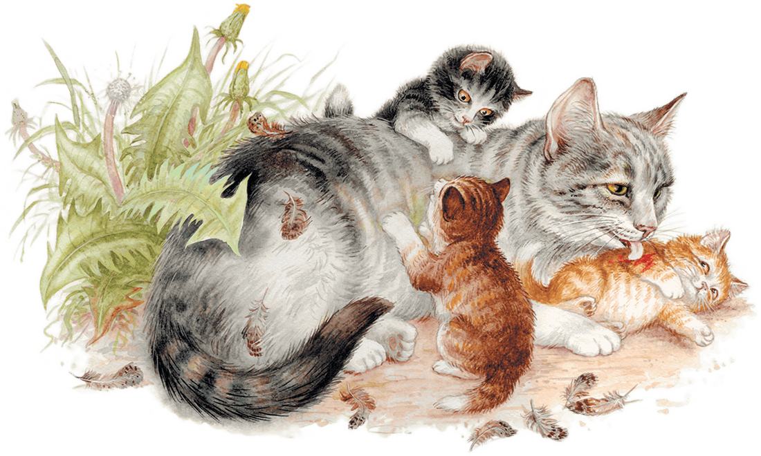 Картинка кошка с котятами детская