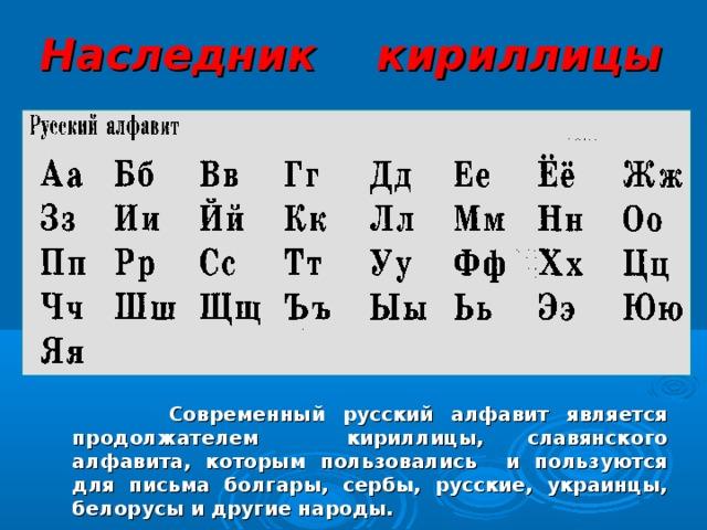 Наследник кириллицы  Современный русский алфавит является продолжателем кириллицы, славянского алфавита, которым пользовались и пользуются для письма болгары, сербы, русские, украинцы, белорусы и другие народы.    19