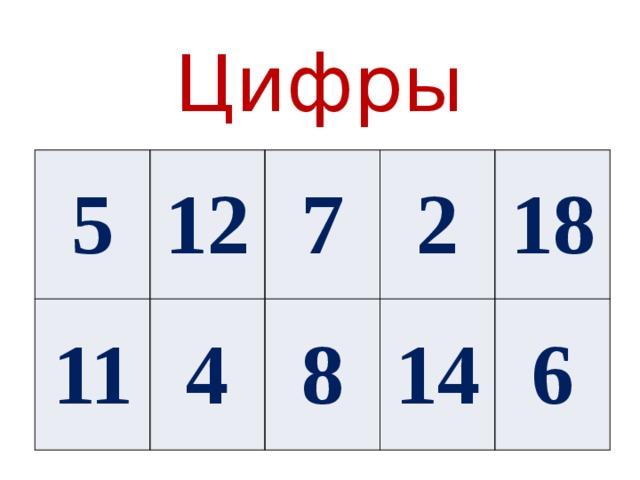Цифры 5 12 11 7 4 2 8 18 14 6