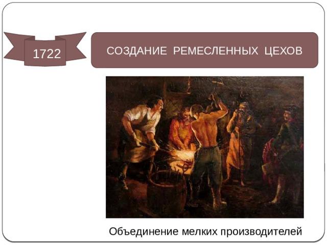 Социально-экономические преобразования  1722 СОЗДАНИЕ РЕМЕСЛЕННЫХ ЦЕХОВ Объединение мелких производителей