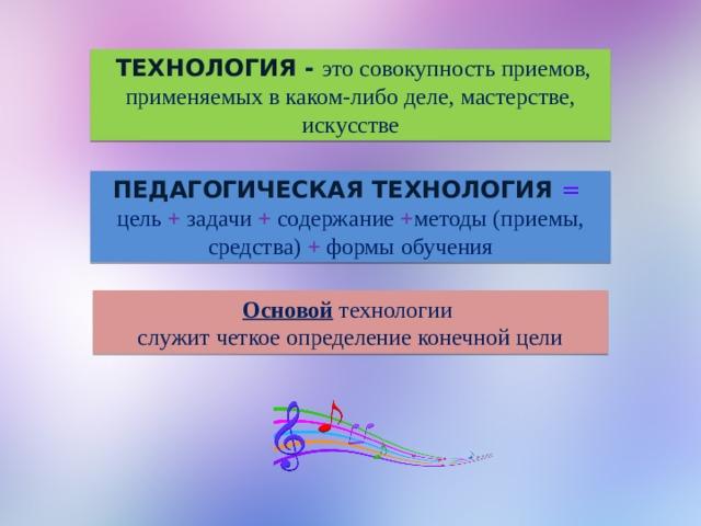 Технология  - это совокупность приемов, применяемых в каком-либо деле, мастерстве, искусстве Педагогическая технология  = цель + задачи + содержание + методы (приемы, средства) + формы обучения Основой технологии служит четкое определение конечной цели