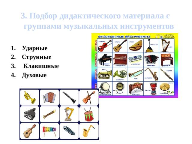 3. Подбор дидактического материала с группами музыкальных инструментов  Ударные Струнные  Клавишные Духовые