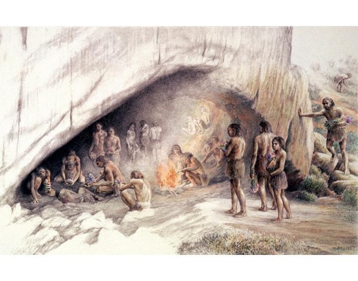 картинка неандерталец в пещере являются
