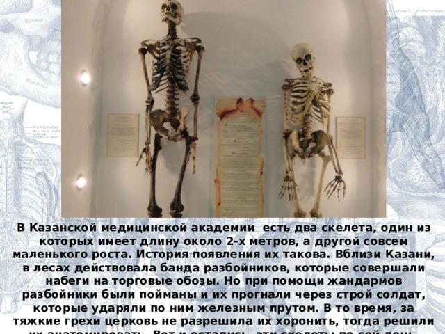 В Казанской медицинской академии есть два скелета, один из которых имеет длину около 2-х метров, а другой совсем маленького роста. История появления их такова. Вблизи Казани, в лесах действовала банда разбойников, которые совершали набеги на торговые обозы. Но при помощи жандармов разбойники были пойманы и их прогнали через строй солдат, которые ударяли по ним железным прутом. В то время, за тяжкие грехи церковь не разрешила их хоронить, тогда решили их анатомировать. Вот и остались, эти скелеты по сей день.  Как вы думаете, почему они до сих пор не рассыпались ?