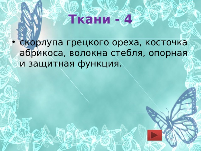 Ткани - 4 скорлупа грецкого ореха, косточка абрикоса, волокна стебля, опорная и защитная функция.