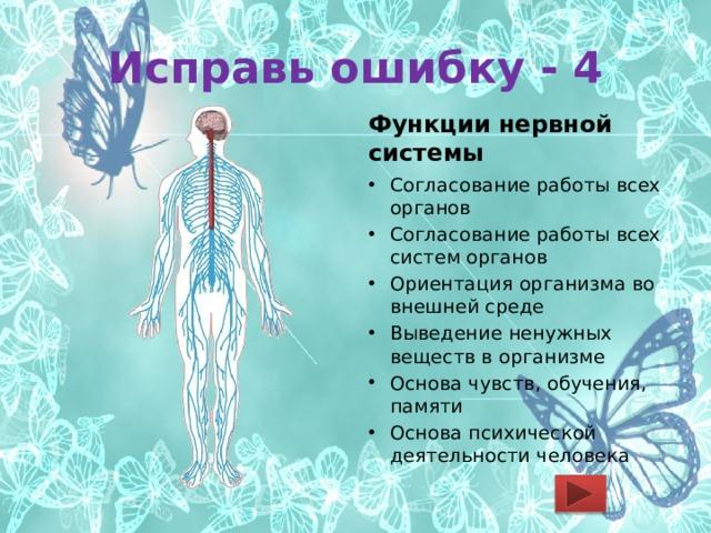 Исправь ошибку - 4 Функции нервной системы Согласование работы всех органов Согласование работы всех систем органов Ориентация организма во внешней среде Выведение ненужных веществ в организме Основа чувств, обучения, памяти Основа психической деятельности человека