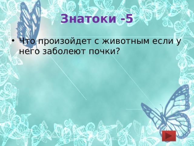 Знатоки -5 Что произойдет с животным если у него заболеют почки?