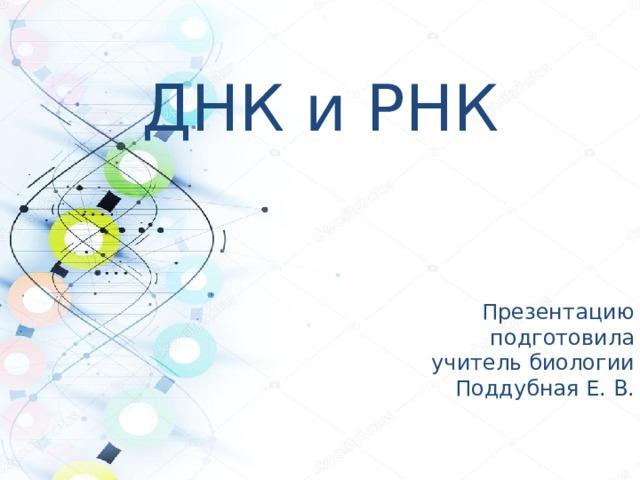 ДНК и РНК Презентацию подготовила учитель биологии Поддубная Е. В.