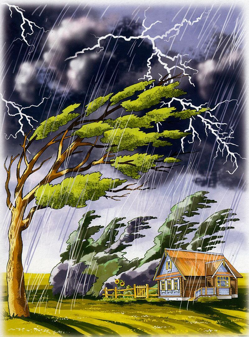 Картинка дом на ветру