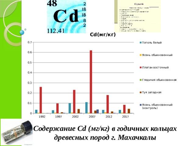 Содержание Cd (мг/кг) в годичных кольцах древесных пород г. Махачкалы