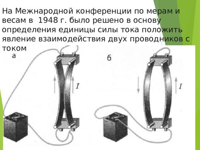 На Межнародной конференции по мерам и весам в 1948 г. было решено в основу определения единицы силы тока положить явление взаимодействия двух проводников с током