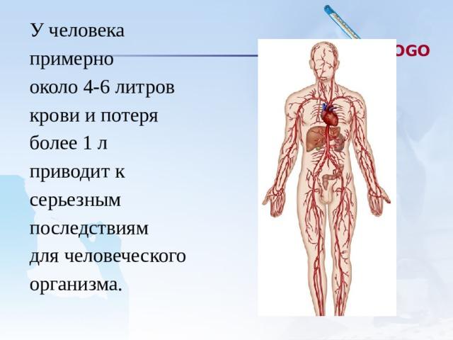 У человека примерно около 4-6 литров крови и потеря более 1 л приводит к серьезным последствиям для человеческого организма.