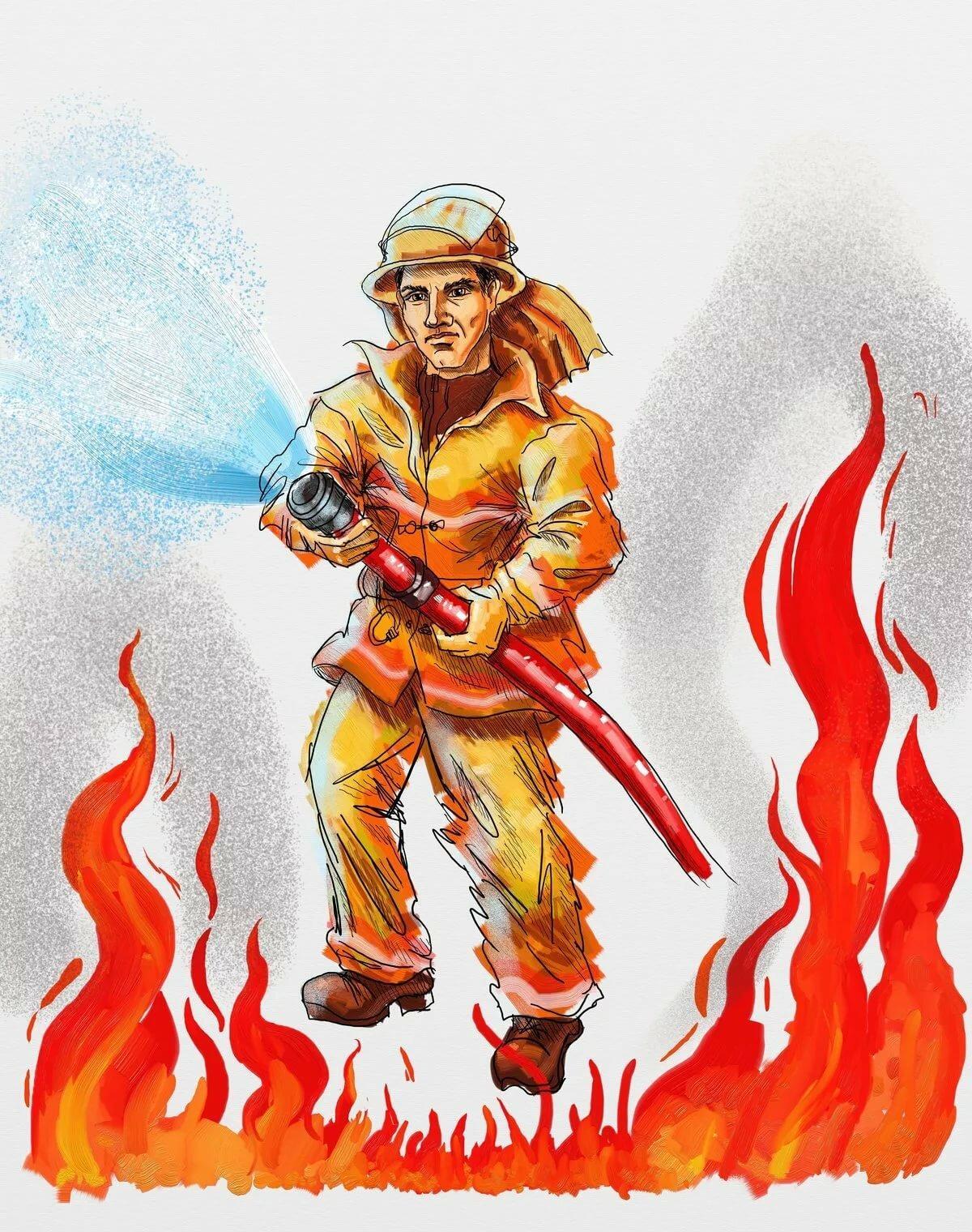 Рисунок пожарный профессия героическая