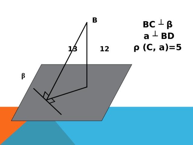 В  13    12  β   5 C  D а ВС ┴ β  а ┴ BD ρ (C , а )=5
