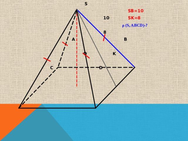 S  SB=10  10 SK=8  ρ (S, ABCD)- ?  8  A B  O K  C D