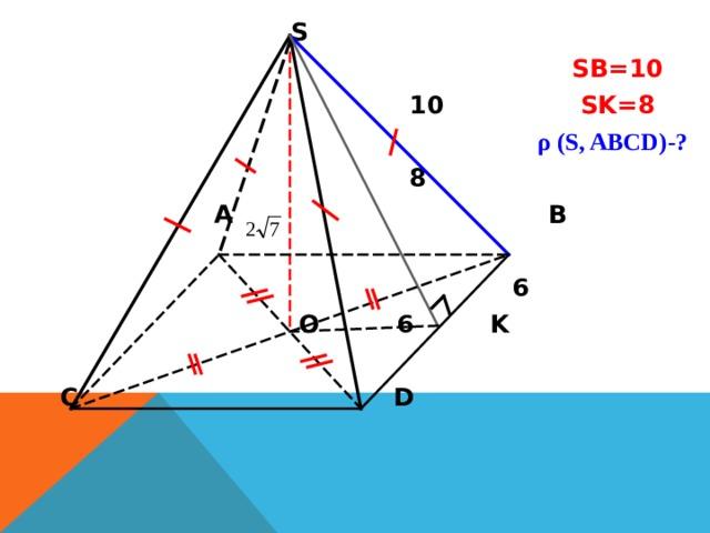 S   SB=10   10  SK=8   ρ (S, ABCD)- ?   8  A  B   6  O 6 K C  D