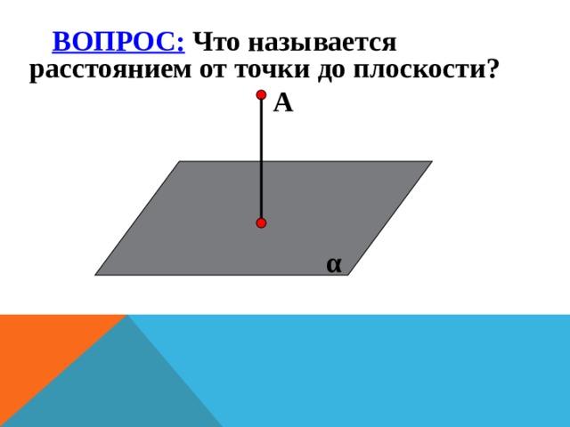 ВОПРОС: Что называется расстоянием от точки до плоскости?  А  Н   α