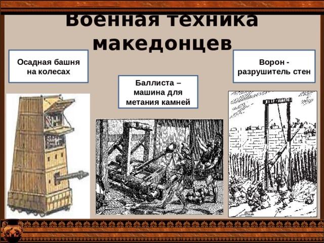 Военная техника македонцев Ворон - разрушитель стен Осадная башня на колесах Баллиста – машина для метания камней