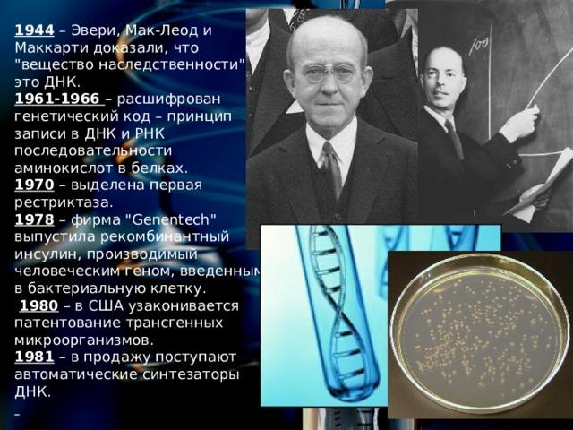 1944 – Эвери, Мак-Леод и Маккарти доказали, что