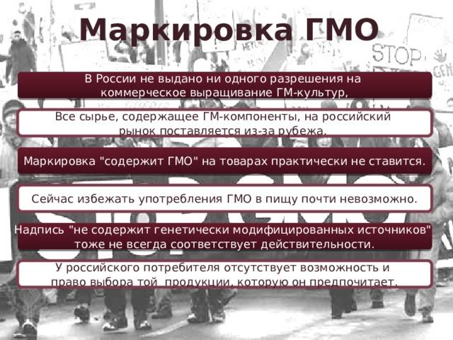 Маркировка ГМО В России не выдано ни одного разрешения на коммерческое выращивание ГМ-культур, Все сырье, содержащее ГМ-компоненты, на российский рынок поставляется из-за рубежа. Маркировка