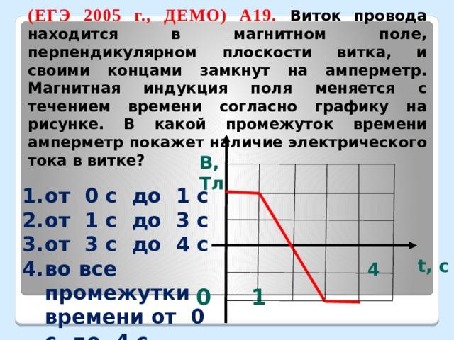 (ЕГЭ 2005 г., ДЕМО) А19. Виток провода находится в магнитном поле, перпендикулярном плоскости витка, и своими концами замкнут на амперметр. Магнитная индукция поля меняется с течением времени согласно графику на рисунке. В какой промежуток времени амперметр покажет наличие электрического тока в витке? В, Тл от 0 с до 1 с от 1 с до 3 с от 3 с до 4 с во все промежутки времени от 0 с до 4 с t, c 1 0 4
