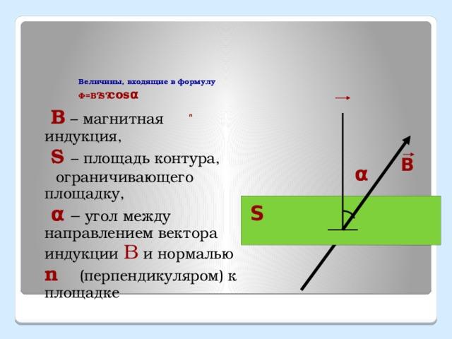 Величины, входящие в формулу Ф=В · S · cosα n В – магнитная индукция, S – площадь контура, ограничивающего площадку, α – угол между направлением вектора индукции В и нормалью n (перпендикуляром) к площадке В α S