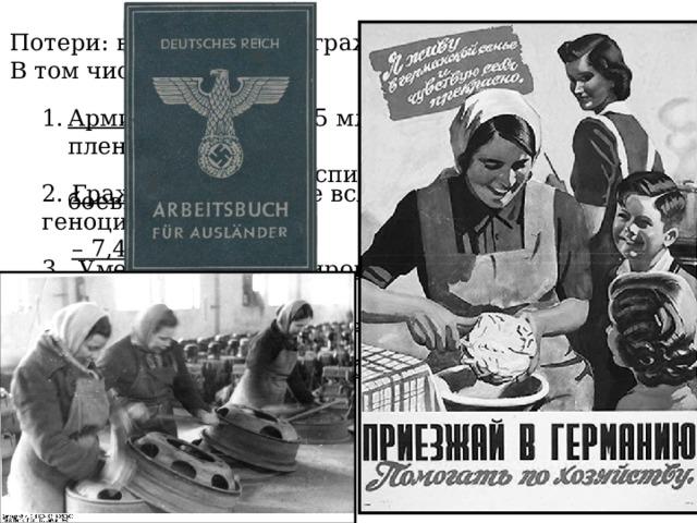 Потери: всего 26,6 млн. граждан СССР В том числе: Армия – 8,7 млн. (5,5 млн. в боях, 2,5 млн. в плену,  1,2 млн. в госпиталях, 0,6 млн.-не боевые потери) 2. Граждане погибшие вследствие гитлеровского геноцида  – 7,4 млн. 3. Умершие на оккупированных территориях – 4,5 млн . 4. Погибшие на каторжных работах в Германии – 2,2 млн . 5. Погибшие граждане в боях – 3,8 млн .