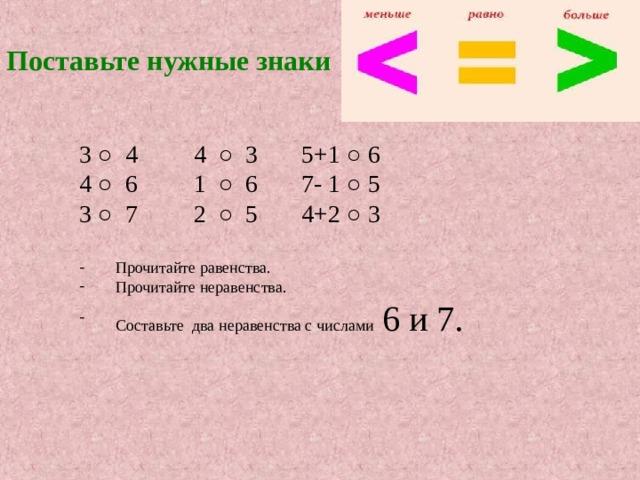 Поставьте нужные знаки 3 ○ 4 4 ○ 3 5+1 ○ 6 4 ○ 6 1 ○ 6 7- 1 ○ 5 3 ○ 7 2 ○ 5 4+2 ○ 3 Прочитайте равенства. Прочитайте неравенства. Составьте два неравенства с числами 6 и 7.