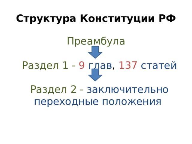 Структура Конституции РФ Преамбула    Раздел 1 - 9  глав , 137  статей   Раздел 2 -  заключительно переходные положения