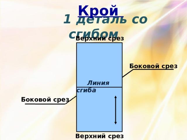 Крой  1 деталь со сгибом Верхний срез Боковой срез  Линия сгиба Боковой срез Верхний срез