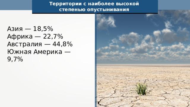 Территории с наиболее высокой степенью опустынивания Азия — 18,5% Африка — 22,7% Австралия — 44,8% Южная Америка — 9,7%