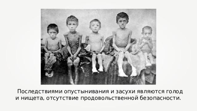 Последствиями опустынивания и засухи являются голод и нищета, отсутствие продовольственной безопасности.