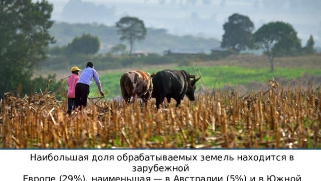 Наибольшая доля обрабатываемых земель находится в зарубежной Европе (29%), наименьшая — в Австралии (5%) и в Южной Америке (7%).