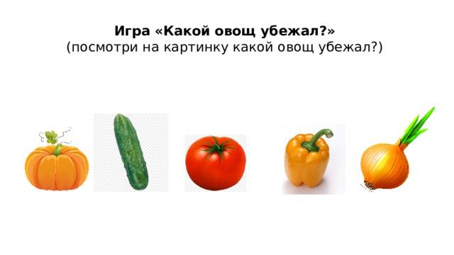 Игра «Какой овощ убежал?»  (посмотри на картинку какой овощ убежал?)