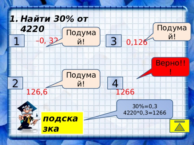 Найти 30% от 4220 Подумай! Подумай! 3 1 – 0, 32 0,126 Верно!!! Подумай!  1266  2 4  126,6 30%=0,3 4220*0,3=1266 подсказка