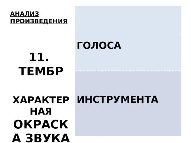 ГОЛОСА ИНСТРУМЕНТА АНАЛИЗ ПРОИЗВЕДЕНИЯ   11. ТЕМБР  ХАРАКТЕРНАЯ ОКРАСКА ЗВУКА