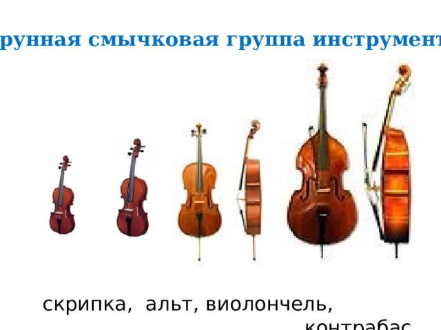 Струнная смычковая группа инструментов скрипка, альт, виолончель,  контрабас