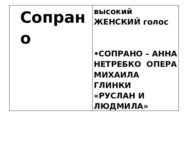 Сопрано  высокий ЖЕНСКИЙ голос  • СОПРАНО – АННА НЕТРЕБКО ОПЕРА МИХАИЛА ГЛИНКИ «РУСЛАН И ЛЮДМИЛА»