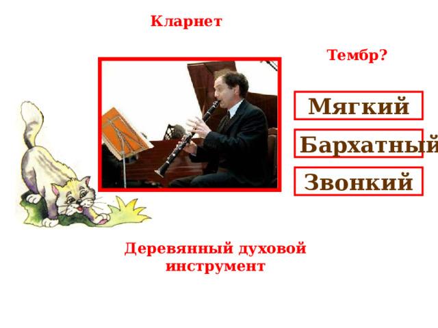 Кларнет Тембр? Мягкий Бархатный Звонкий Деревянный духовой инструмент