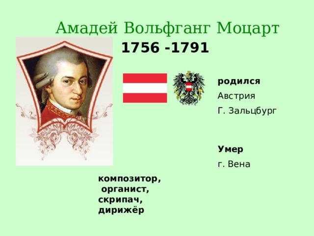 Амадей Вольфганг Моцарт 1756 -1791 родился Австрия Г. Зальцбург Умер г. Вена композитор,  органист, скрипач, дирижёр
