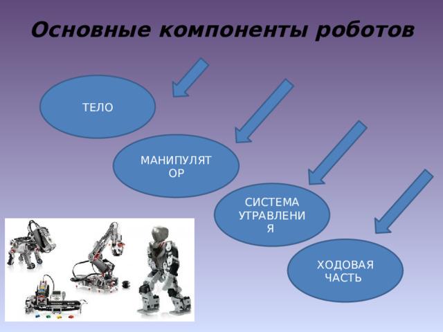 Основные компоненты роботов ТЕЛО МАНИПУЛЯТОР СИСТЕМА УТРАВЛЕНИЯ ХОДОВАЯ ЧАСТЬ