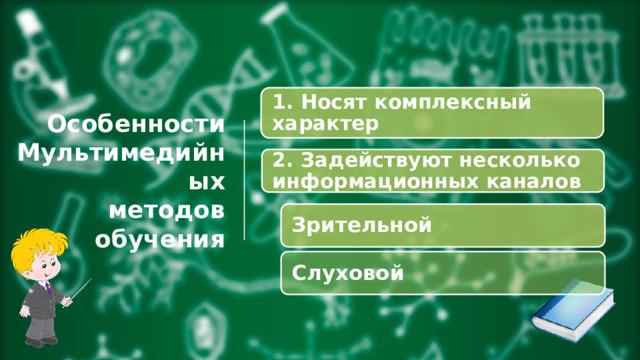 1. Носят комплексный характер Особенности  Мультимедийных  методов обучения 2. Задействуют несколько информационных каналов Зрительной Слуховой