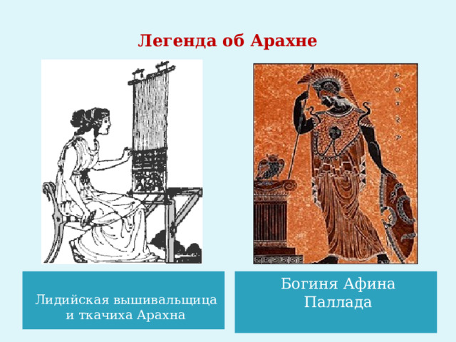 Легенда об Арахне    Богиня Афина Паллада Лидийская вышивальщица и ткачиха Арахна