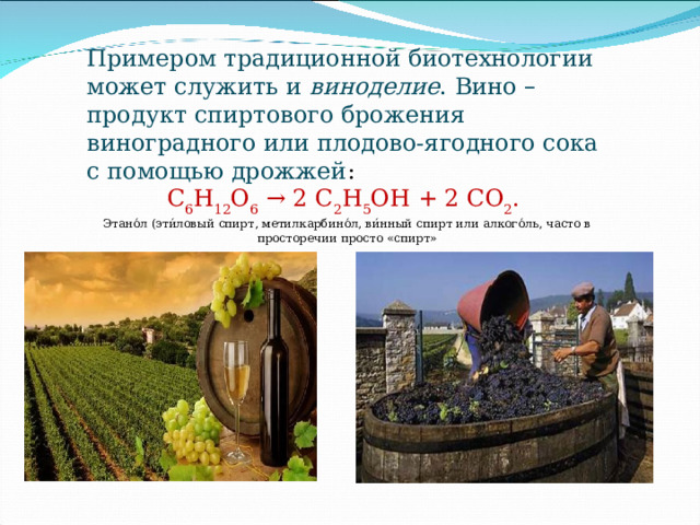 Примером традиционной биотехнологии может служить и  виноделие . Вино – продукт спиртового брожения виноградного или плодово-ягодного сока с помощью дрожжей : С 6 Н 12 О 6  → 2 С 2 Н 5 ОН + 2 СО 2 .  Этано́л (эти́ловый спирт, метилкарбино́л, ви́нный спирт илиалкого́ль, часто в просторечии просто «спирт»
