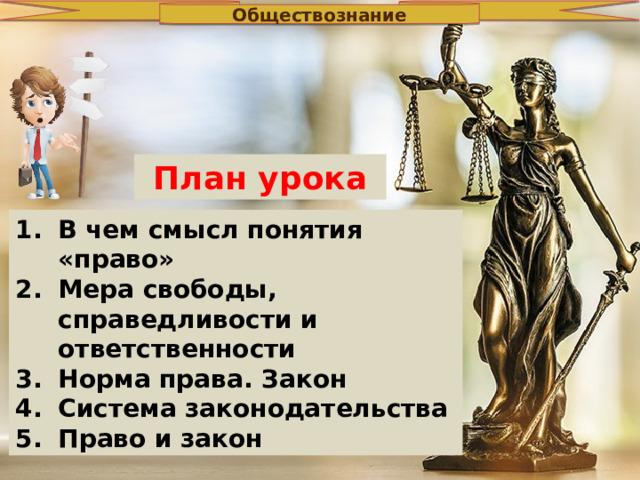 Обществознание План урока В чем смысл понятия «право» Мера свободы, справедливости и ответственности Норма права. Закон Система законодательства Право и закон